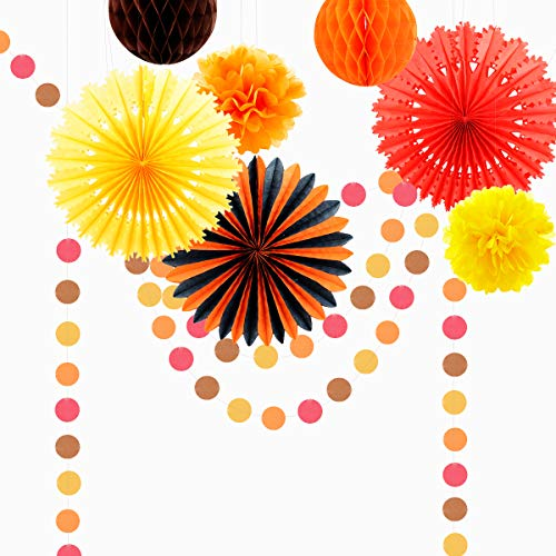 Fall Hanging Paper Fan Decorations, Thanksgiving Party Decorations, Yellow Orange Brown Pumpkin Color Circle Dots Garland, Tissue Pom Poms and Honeycomb Balls for Autumn Party Decorations Fall Wedding