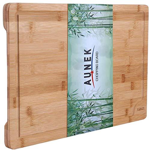 AUNEK Tabla de Cortar, Premium Orgánico Bambú Madera Tablas de Cortar con Ranura para Jugo, 44.5 x 30 x 2 cm Grande Fácil de Limpiar Picar Tabla de Cocina para Alimentos Carne Verduras Pan y Queso