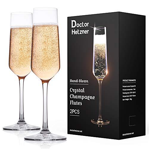 Doctor Hetzner 2 pezzi Flute da Champagne, Calici di 100% Cristallo Bicchieri per Champagne Perfetti per Ogni Occasione (Type 1)