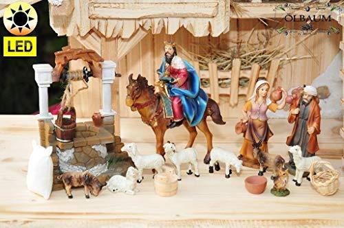 Krippenfiguren-Zubehörset: Station 5+6-2: Passionskrippe Weihnachtskrippe & Osterkrippe, 17-tlg. Set KOMPLETT mit LED-BELEUCHTUNG, Brave Bürger beobachten das Treiben nach Golgota und helfen Jesus, z