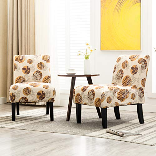 Altrobene Armless Slipper Accent Chairs, Set of 2, Living Room Bedroom Chair, 4 Pack Washable Slipcovers, Beige & Floral & Yellow