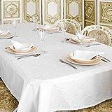 Mantel blanco de lujo – Tratamiento antimanchas – Tamaños grandes – Ref. Lyon (150 x 350 cm)