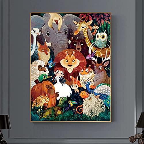 jijimidianzi GFJJTRB,Pintura de la Lona de la decoración de la Pared Animal león Abstracto Minimalista decoración de la Pared del hogar Pintura sin Marco del arte-50x70cm