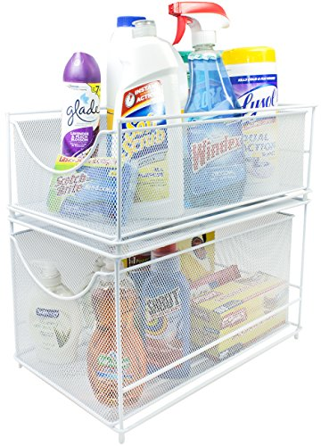 Sorbus Cabinet Organizer Set—Mesh Storage Organizer with Pull Out Drawers—Ideal for Countertop, Cabinet, Pantry, Under the Sink, Desktop and More (White Two-Piece Set)