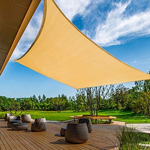 KANAGAWA 12'x16' Sand Sun Shade Sail Rectangle Canopy Durable Fabric UV Block Awning for Outdoor Patio Garden Backyard Activities