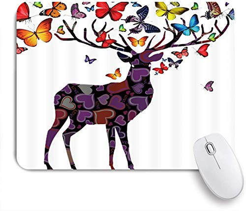 Dekoratives Gaming-Mauspad,Hirsch Schmetterling Elch Geweih Bunte Tierjagd Kreative Schatten Wildtiere Natur Abstrakte Vintage Szene Fantasie,Bürocomputer-Mausmatte mit rutschfester Gummibasis
