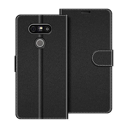 COODIO Handyhülle für LG G5 Handy Hülle, LG G5 Hülle Leder Handytasche für LG G5 Klapphülle Tasche, Schwarz