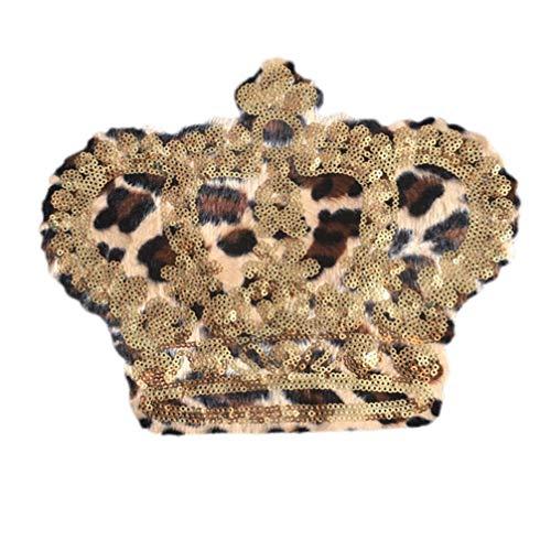 Artibetter Parche bordado con lentejuelas decorativas, corona de leopardo, para camisetas, mochilas,...