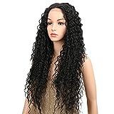 Joedir Lace Front Wigs 28'' Long Kinky Curly Synthetic Wigs For Black Women 130% Density Wigs(Black Color)