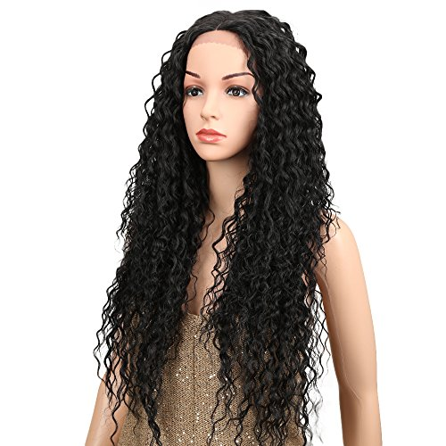 Joedir Lace Front Wigs Ombre Blonde 28'' Long Small Curly Wavy Synthetic Wigs For Black Women 130% Density Wigs (natural black)