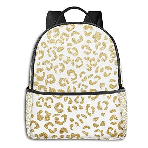 Rucksäcke Schultertasche Multifunktionale Reise Daypack Laptop Student Rucksack Modern Leopard Luxus Faux Gold Glitzer Langlebig Mode Süße Taschen für Erwachsene und Jugendliche
