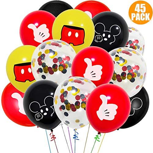 Mickey Party Mouse Luftballons Latex Konfetti Helium Luftballons Premium Party Favors Decroation für Geburtstag, Hochzeit, Weihnachten, Babyparty, Weihnachten, Feiern Kinder Schwarz Rot (45 Stück)