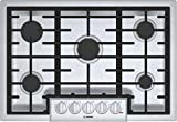 Bosch NGM8056UC 30' Gas Cooktop with 5 Burners, Automatic Electronic Re-Ignition, Push-To-Turn Knobs, Low Profile Design, and Cast Iron Grate, in Stainless Steel