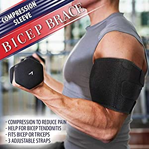 """Bicep Tendonitis Brace Compression Sleeve - Triceps & Biceps Muscle Support For Upper Arm Tendonitis Pain Relief Or Bicep Strains (S/M Bicep 6 to 11"""")"""