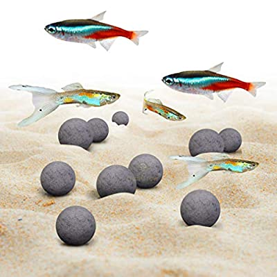 SunGrow Tropical Fish Mineral Stones, 30+ Minerals Strengthen Scales, Enhance Fish Color, Calcium-Rich Grey Stones for Freshwater Tank, Optimal Balance, 10-Pack