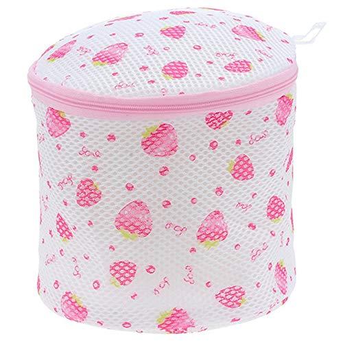 CamKpell Accueil Sac de Lavage de Soutien-Gorge Sac de lessive sous-vêtements Triangle Rond imprimé Trousse de Toilette - Rose