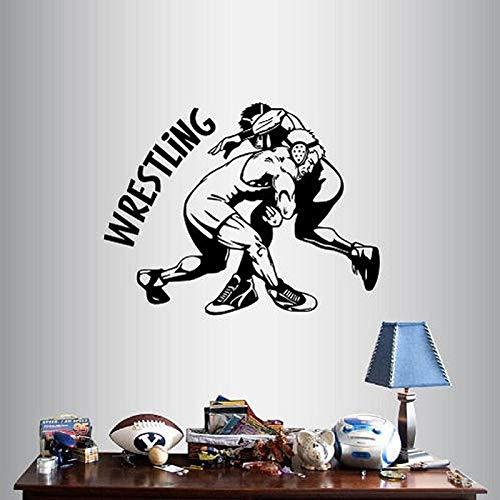 zgldx73 Wohnkultur Kunst Aufkleber Silhouette Wrestling Match Wrestler Sport Junge Zimmer abnehmbare Mode Wandbild 40x50cm
