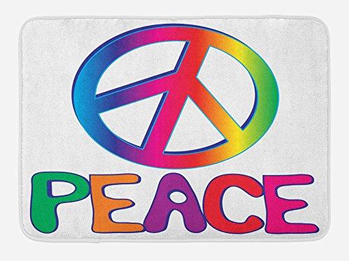 "Lunarable 1960s Bath Mat, Peace Text Peace Sign Type Line Love Political Hippie Groovy Clipart, Plush Bathroom Decor Mat with Non Slip Backing, 29.5"" X 17.5"", Orange Pink"