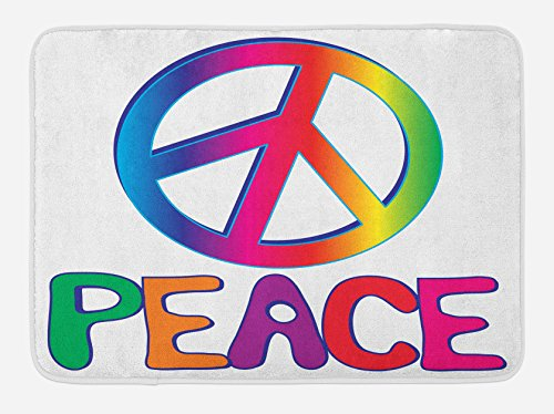 "Lunarable 1960s Bath Mat, Peace Text Peace Sign Type Line Love Political Hippie Groovy Clipart, Plush Bathroom Decor Mat with Non Slip Backing, 29.5"" X 17.5"", Orange Pink"