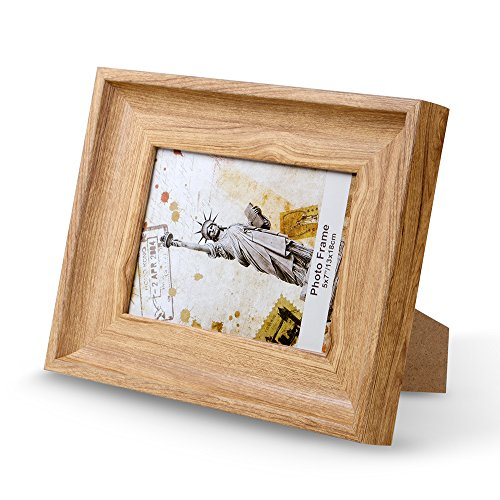 AIRCLE 8x10 Picture Photo Frames with 5x7 Nordic style, Frame Clips & Holder, Brown, Wood & Big Picture Frames for Family, Home and Bedroom Hang Wall Décor Multi Display.