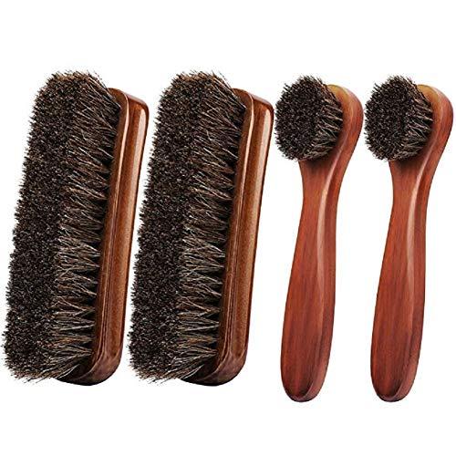 Coolty 4 Stück Rosshaar Schuhbürsten für Putzen, Polieren und Schuhpflege