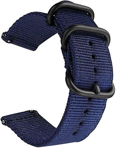 Strap de reloj de liberación rápida para hombres Mujeres de reloj de nylon con hebilla de acero inoxidable -18mm, 20 mm, 22 mm, 24 mm 10688 (Band Color : Blue, Band Width : 20mm)