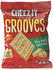 Packaged as 6, 3.25oz bags; Made with 100% real cheese, these crunchy Cheez-It Grooves Baked Snack Crackers make a great snack during busy, on-the-go moments, or while relaxing with friends Place in the crackers section, near hot or cold beverages; T...