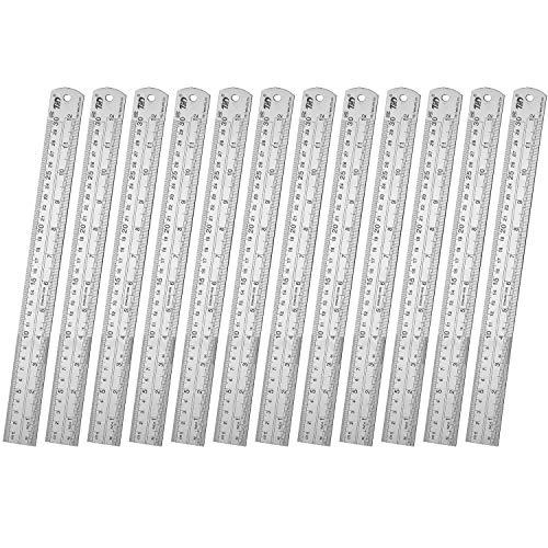 Ruler Metal Straight Edge Ruler Stainless Steel Ruler 12 Inch Ruler Set Rulers Bulk 12 Pack