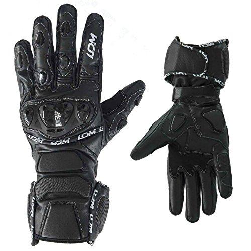 LDM Street-R Motorradhandschuhe aus Leder –– Flexible gepanzerte Lederhandschuhe, Race und Sporthandschuhe zum Motorrad und Radfahren – schwarz