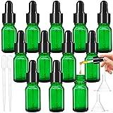 Frasco gotero verde con gotero de vidrio de pipeta, frasco de vidrio de 10 ml con gotero para aceites esenciales, perfumes, mezclas de aromaterapia - 16 piezas