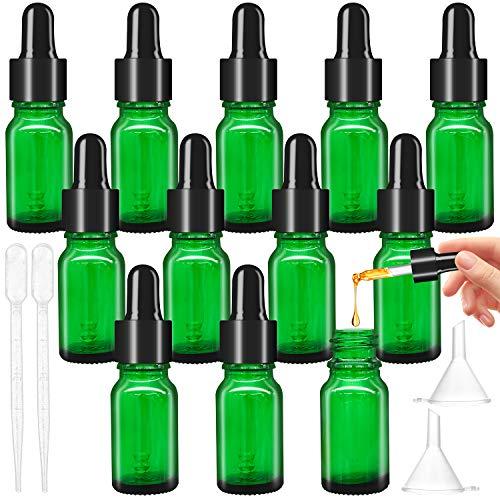 12pcs Flacon pipette vert avec verre compte-gouttes, flacon en verre 10 ml avec compte-gouttes pour e-liquides, diffuseur d'huiles essentielles, massage, échantillon d'huile parfumée, liquide chimique