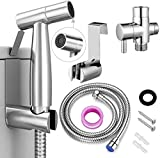 Duchas Pompis Bathroom Handheld Bidet Sprayer for Toilet Seat with Anti-leaking Hose Multi-function for Baby Cloth Diaper Sprayer, Shattaf Sprayer, Pets Shower - 304 Stainless Steel Material