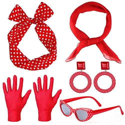 Haichen 50's vrouwen kostuum accessoires set chiffon sjaal polka dot bandana stropdas hoofdband handschoenen oorbellen retro cat eye zonnebril (Rood)