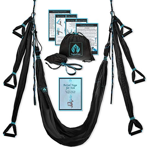 Aerial Yoga Swing Set - Yoga Hammock Swing - Trapeze Yoga Kit + Extension Straps & eBook - Wide Flying Yoga Inversion Tool - Antigravity Ceiling Hanging Yoga Sling - Women Men Kids Arial Acro (Black)