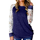 Sunhusing Women's Openwork Lace Flower Splicing Long Sleeve Solid Color Round Neck Comfort Pullover T-Shirt Blue