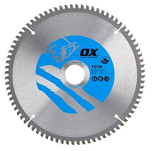 OX ox-tcta-216308080denti TCG in alluminio/plastica/laminato taglio lama per sega circolare, 0V, argento/blu, 216/30mm