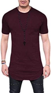 GAGA Mens Pure Color Extended Hipster Hip Hop Swag Curve Hem Long Sleeve T Shirt