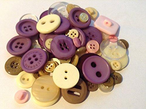 Sew Bon Nombre de boutons 50 g Ensemble de boutons pour arts et travaux manuels, avec le thème du Violet, lilas et crème.