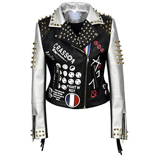 She Charm Womens Lederjacke, Mode Motorrad-Reiter USA-Flaggen-Druck Nieten Punk Biker-Lederjacke,Schwarz,M