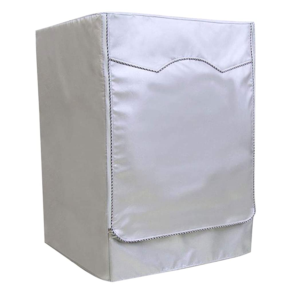 LKXHarleya Waterproof Washing Machine Cover Front Load Dustproof Sunscreen Thicker Polyester Washer/Dryer Cover with Zipper to Open and Close