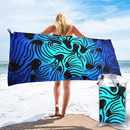 Toallas de Playa de Antiarena de Microfibra para Hombre Mujer, 130x80cm, Toallas Baño Calidad Gigante Secado Rapido para Piscina, Manta Playa, Toalla Yoga Deporte Gimnasio,Pulpo Azul Océano Negro