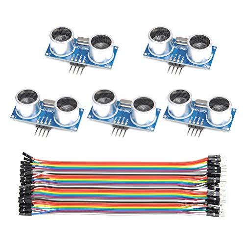 QLOUNI HC-SR04 Ultraschallmodul, 5 Stück Distanzsensor für Raspberry pi arduino Ultraschallsensor und 40 Pin Dupont-Kabel