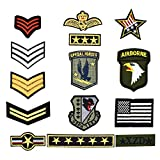 Riao-Tech 14pcs Sew On Iron On Patches Military Patch Set US Army Applique Patches for Clothing, Jackets, Backpacks, Shoes, Hats