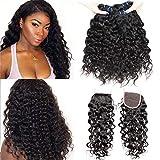 EMOL Hair 9A Brazilian Hair Bundles with Closure Brasilianisches Haar Echthaar Menschliches Haar Water Wave Virgin Human Hair Weave Bundles with Closure 12 14 16+10 Zoll