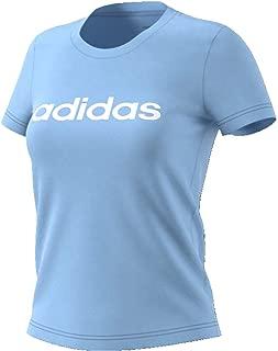 adidas Women's Essentials Linear Slim T-Shirt, Blue (Glow Blue/white), Small, 8-10