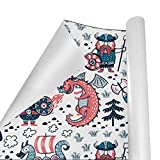 Gift Wrapping Paper Roll Cartoon Vikings Dragon for Birthday,Holiday,Wedding,Baby Shower Gift Wrap - 3Rolls - 58inch x 23inch Per Roll