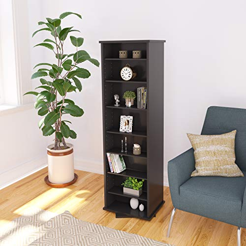 Prepac Two-Sided Spinning Tower Storage Cabinet, Black