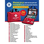 First Aid Kit - 200 piece - for Car, Home, Travel, Camping, Office or Sports | Red bag w/reflective cross, fully stocked… 3