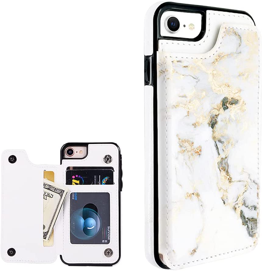 Obbii White Gold Marble Leather Flip Case Phone Wallet Compatible with iPhone SE 2nd/8/7/6s/6 4.7