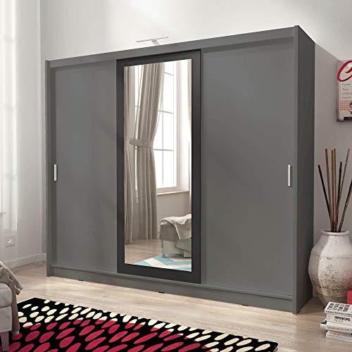 PSK Sarah II 250 - Armadio con 3 ante scorrevoli a specchio, grande camera da letto, stile moderno, luci LED grigio